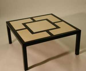 Modern metal and wood inlay coffee table